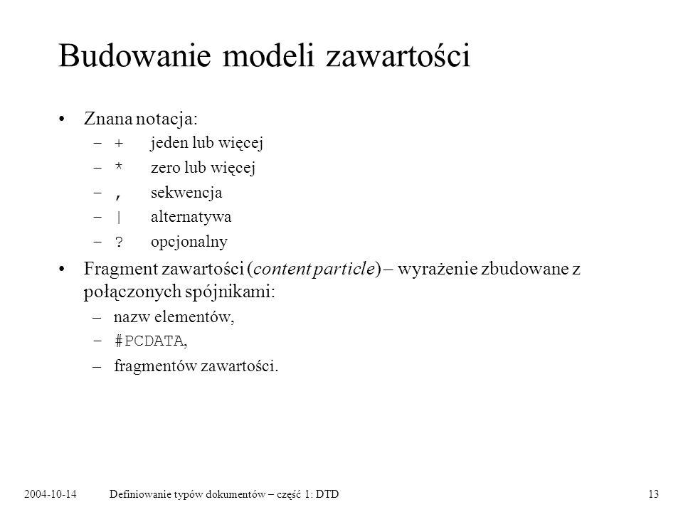 2004-10-14Definiowanie typów dokumentów – część 1: DTD14 Fragmenty zawartości – przykład znaczenie(znaczenie | definicja)(hasło, (znaczenie | definicja), etymologia?) znaczenie definicja hasłoetymologia .