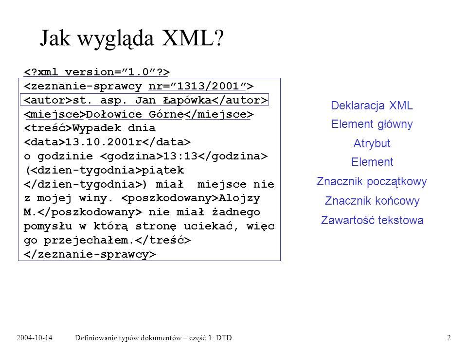 2004-10-14Definiowanie typów dokumentów – część 1: DTD3 Struktura logiczna dokumentu XML st.