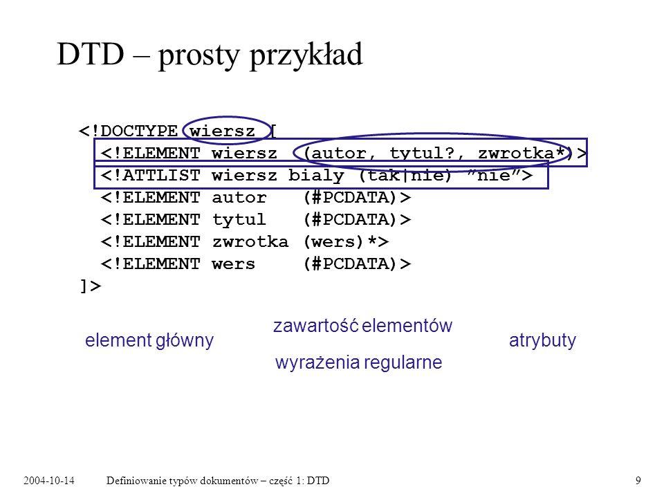2004-10-14Definiowanie typów dokumentów – część 1: DTD10 Składnia DTD Deklaracja DOCTYPE: Deklaracja elementu: Deklaracja atrybutów: