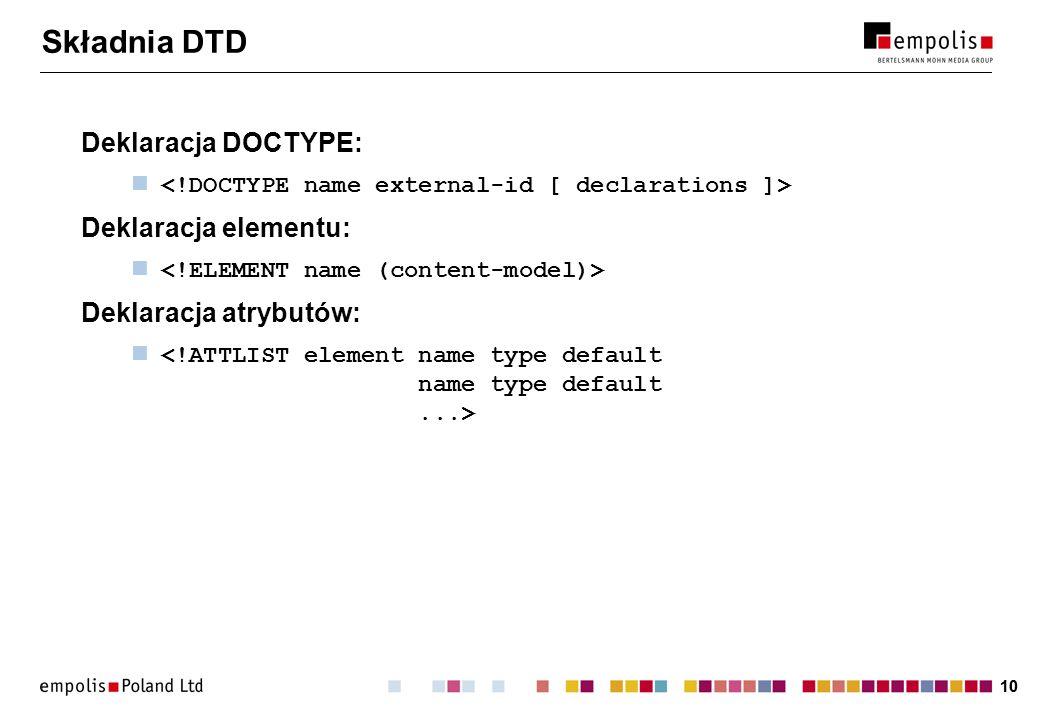 10 Składnia DTD Deklaracja DOCTYPE: Deklaracja elementu: Deklaracja atrybutów: