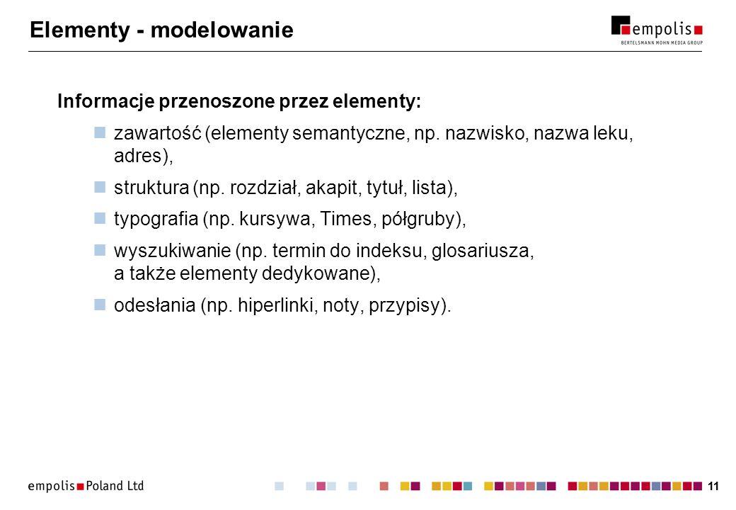 11 Elementy - modelowanie Informacje przenoszone przez elementy: zawartość (elementy semantyczne, np.
