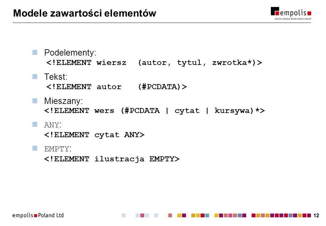 12 Modele zawartości elementów Podelementy: Tekst: Mieszany: ANY : EMPTY :