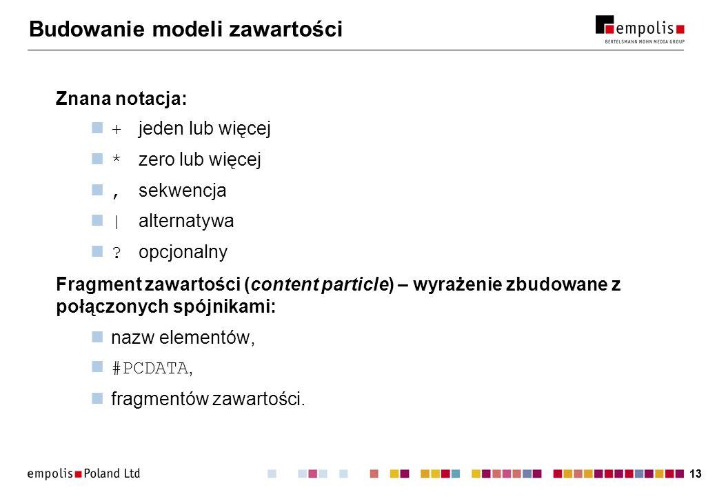 13 Budowanie modeli zawartości Znana notacja: + jeden lub więcej * zero lub więcej, sekwencja | alternatywa .
