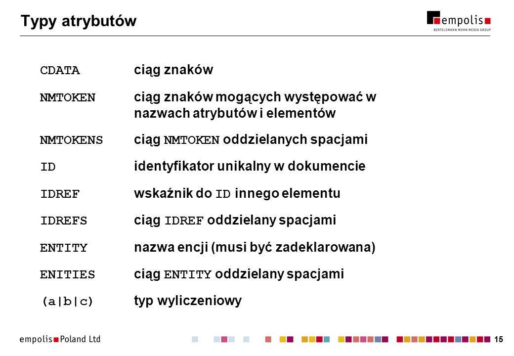 15 Typy atrybutów CDATA ciąg znaków NMTOKEN ciąg znaków mogących występować w nazwach atrybutów i elementów NMTOKENS ciąg NMTOKEN oddzielanych spacjami ID identyfikator unikalny w dokumencie IDREF wskaźnik do ID innego elementu IDREFS ciąg IDREF oddzielany spacjami ENTITY nazwa encji (musi być zadeklarowana) ENITIES ciąg ENTITY oddzielany spacjami (a|b|c) typ wyliczeniowy