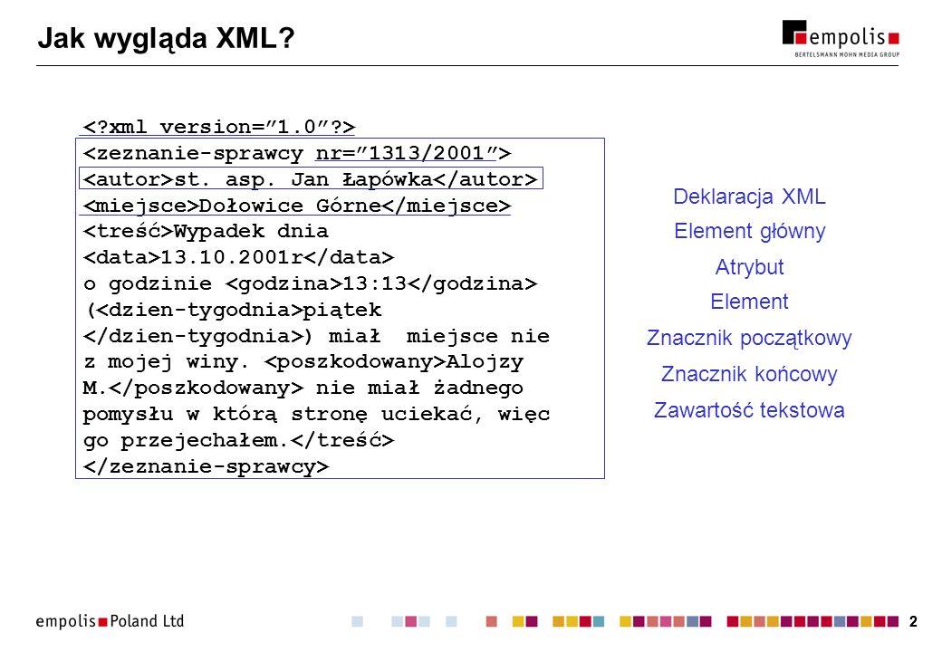 23 Plik catalog Format OASIS (odziedziczony po SGML-u): PUBLIC -//W3C//DTD HTML 4.0 Transitional//EN html40-l/html40-l.dtd PUBLIC -//ArborText//DTD Article 950601//EN article/article.dtd Format XCatalog: