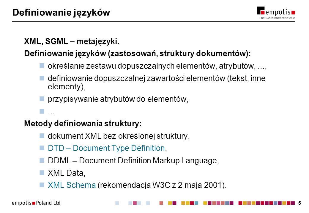 36 Sekcje warunkowe + encje parametryczne Zewnętrzny podzbiór DTD: ]]> ]]> Dokument zgodny z wersją 1: ]...