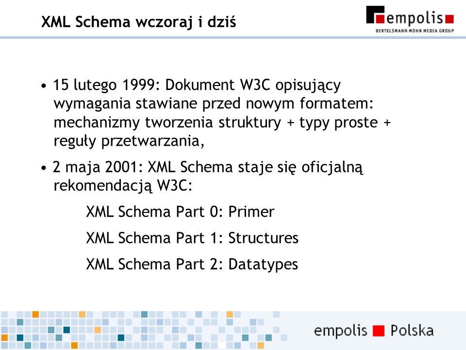 XML Schema wczoraj i dziś 15 lutego 1999: Dokument W3C opisujący wymagania stawiane przed nowym formatem: mechanizmy tworzenia struktury + typy proste