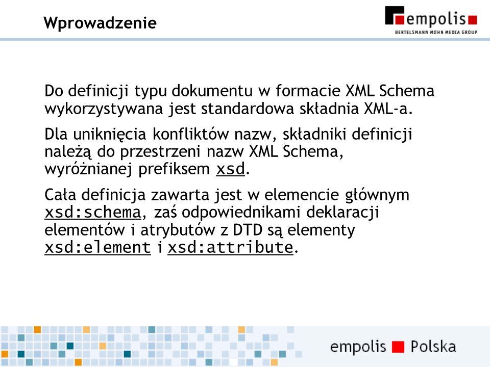 Wprowadzenie Do definicji typu dokumentu w formacie XML Schema wykorzystywana jest standardowa składnia XML-a. Dla uniknięcia konfliktów nazw, składni