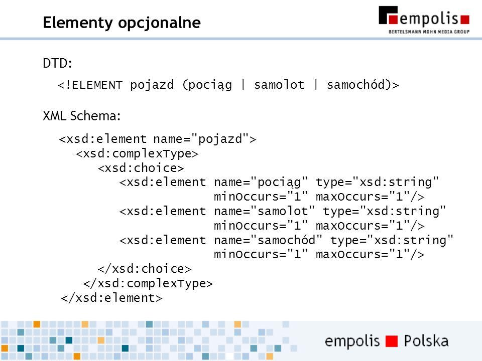 Elementy opcjonalne DTD: XML Schema: