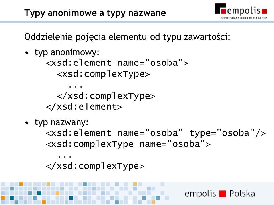 Typy anonimowe a typy nazwane Oddzielenie pojęcia elementu od typu zawartości: typ anonimowy:... typ nazwany:...