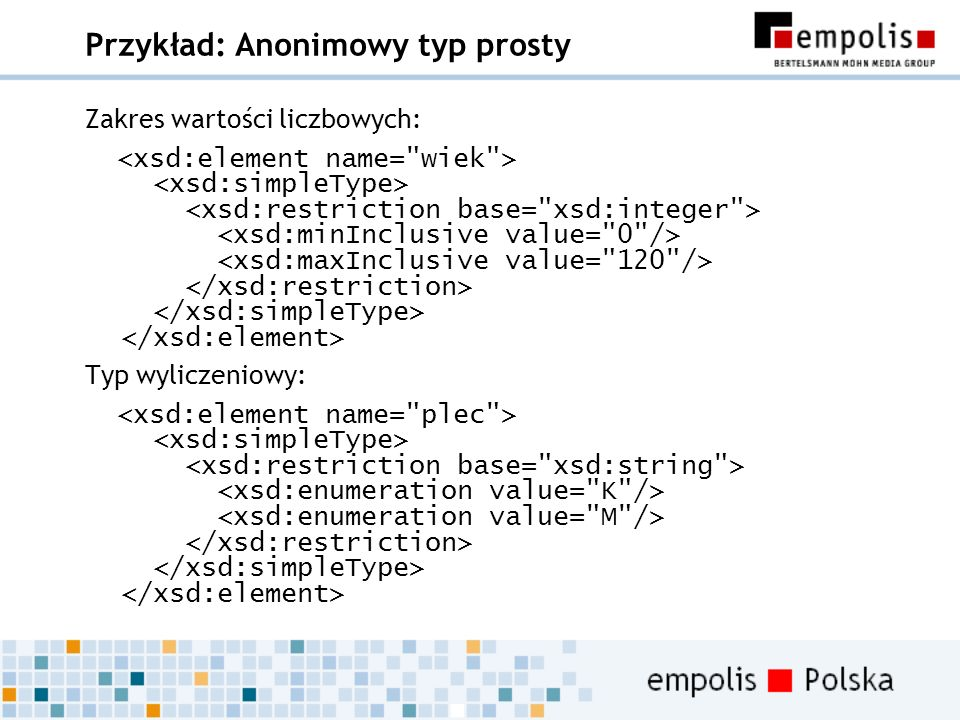 Przykład: Anonimowy typ prosty Zakres wartości liczbowych: Typ wyliczeniowy: