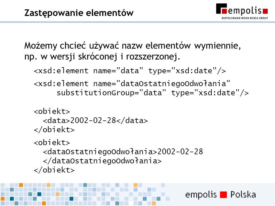 Zastępowanie elementów Możemy chcieć używać nazw elementów wymiennie, np. w wersji skróconej i rozszerzonej. 2002-02-28