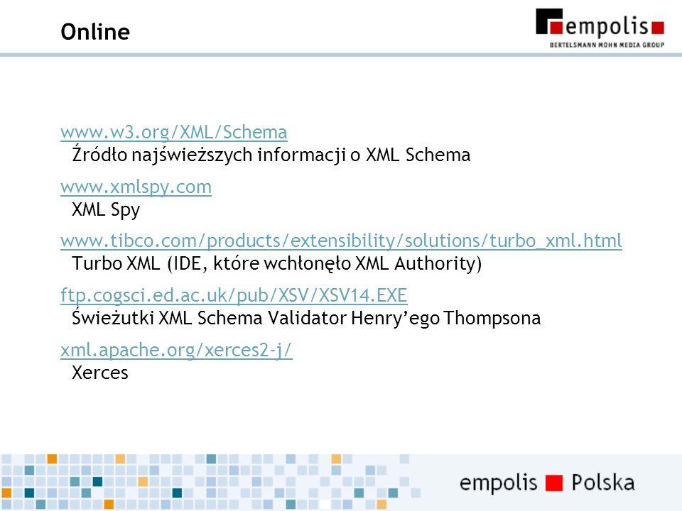 Online www.w3.org/XML/Schema www.w3.org/XML/Schema Źródło najświeższych informacji o XML Schema www.xmlspy.com www.xmlspy.com XML Spy www.tibco.com/pr