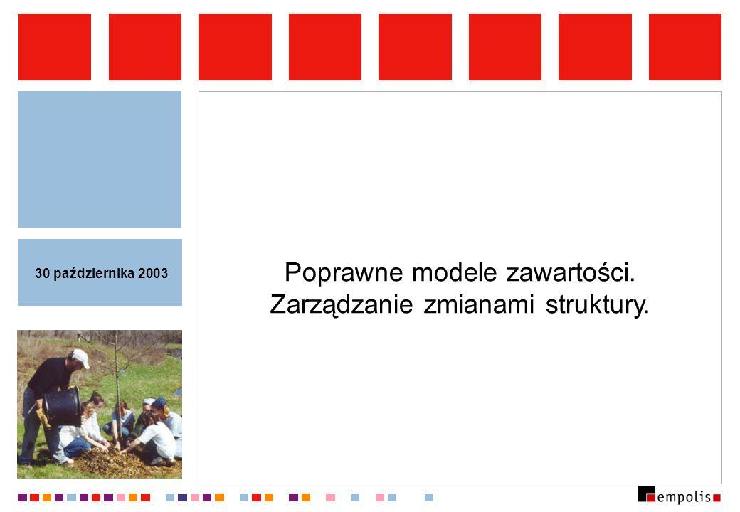 Poprawne modele zawartości. Zarządzanie zmianami struktury. 30 października 2003