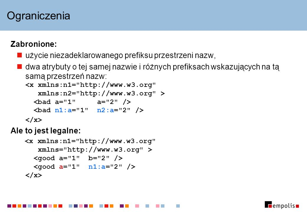 Ograniczenia Zabronione: użycie niezadeklarowanego prefiksu przestrzeni nazw, dwa atrybuty o tej samej nazwie i różnych prefiksach wskazujących na tą