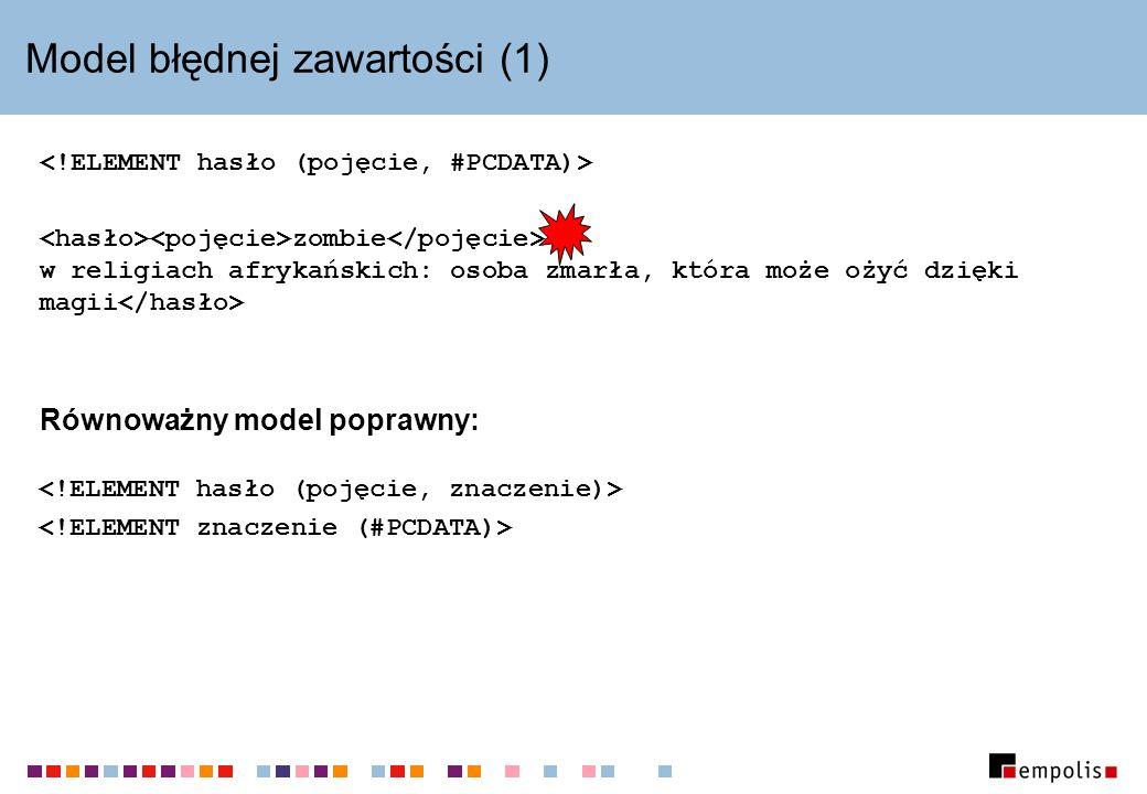 Model błędnej zawartości (1) zombie w religiach afrykańskich: osoba zmarła, która może ożyć dzięki magii Równoważny model poprawny: