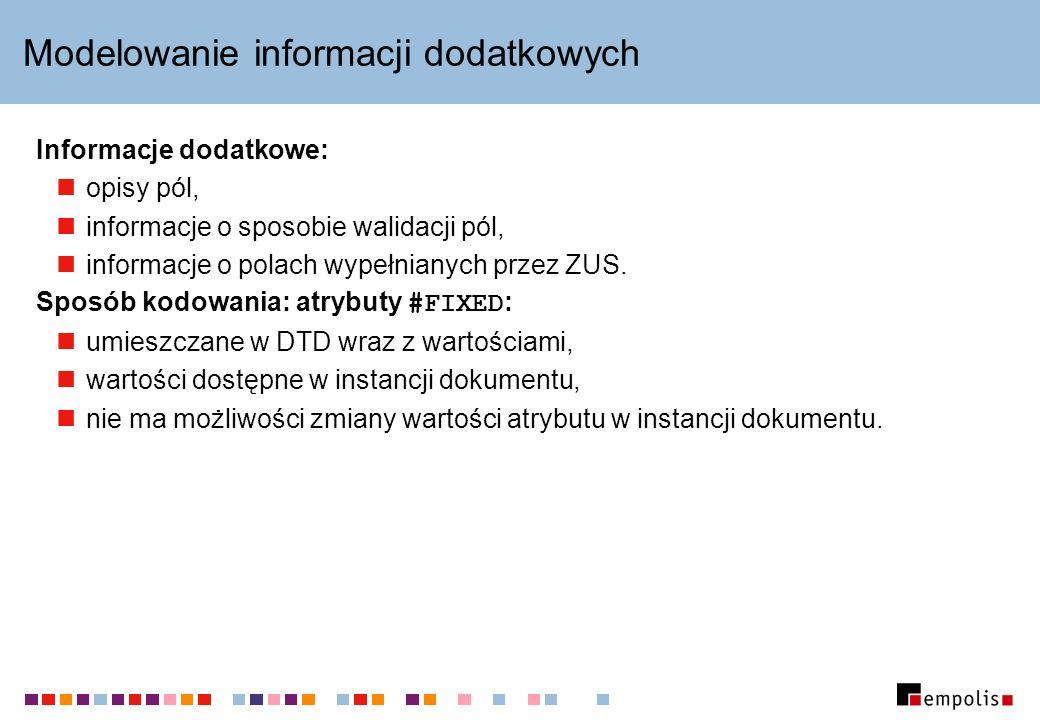 Modelowanie informacji dodatkowych Informacje dodatkowe: opisy pól, informacje o sposobie walidacji pól, informacje o polach wypełnianych przez ZUS. S