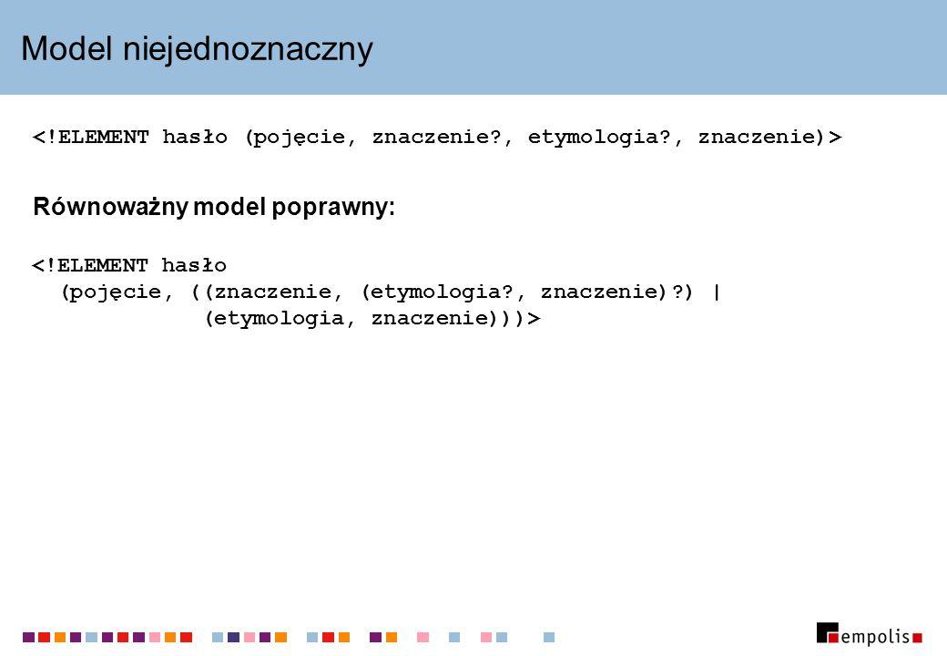Model niejednoznaczny Równoważny model poprawny: