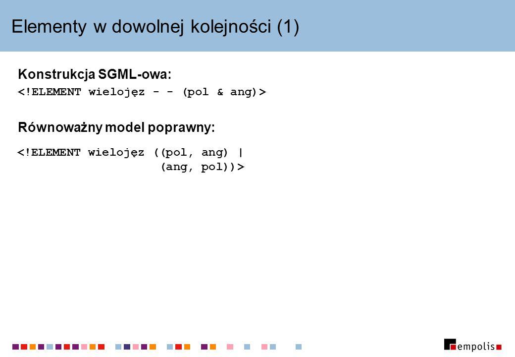 Elementy w dowolnej kolejności (1) Konstrukcja SGML-owa: Równoważny model poprawny: