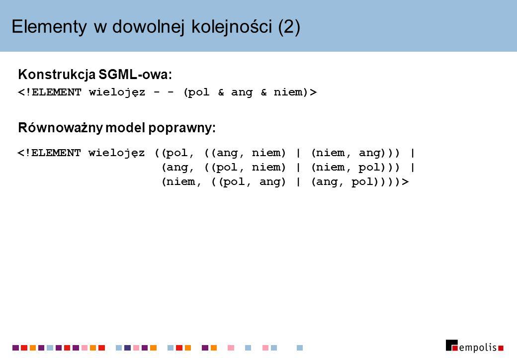 Elementy w dowolnej kolejności (2) Konstrukcja SGML-owa: Równoważny model poprawny: