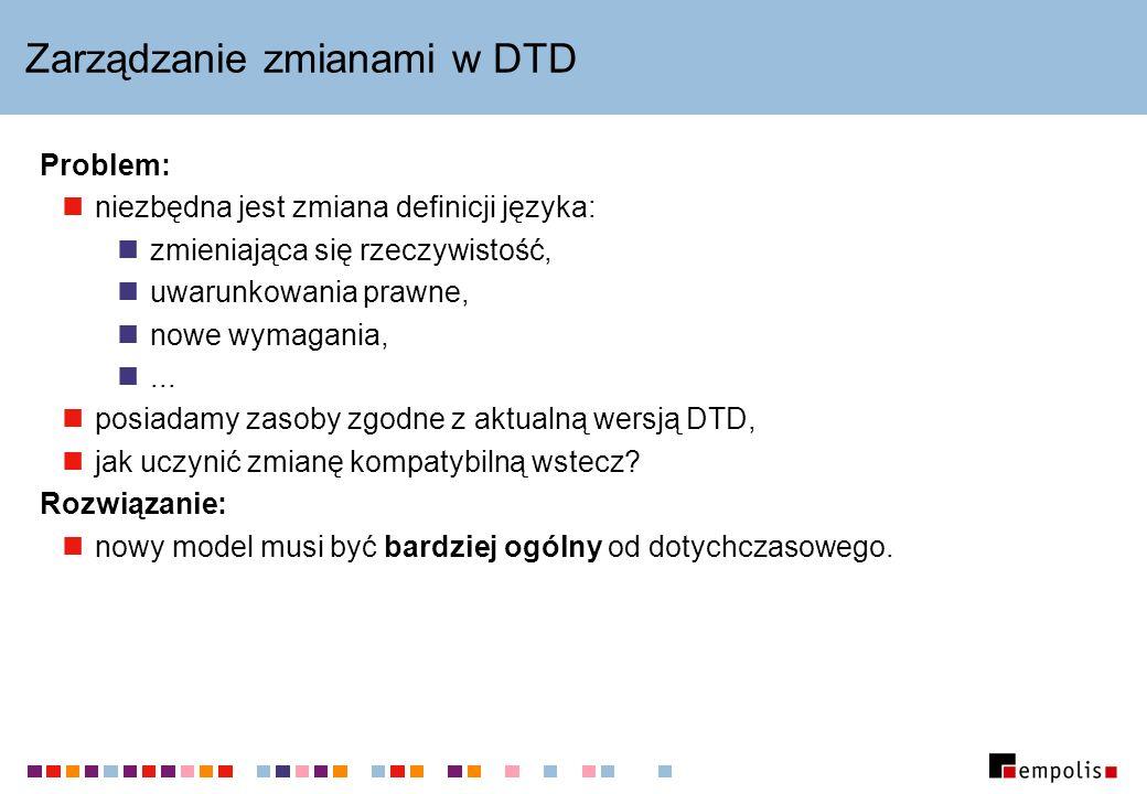 Zarządzanie zmianami w DTD Problem: niezbędna jest zmiana definicji języka: zmieniająca się rzeczywistość, uwarunkowania prawne, nowe wymagania,... po