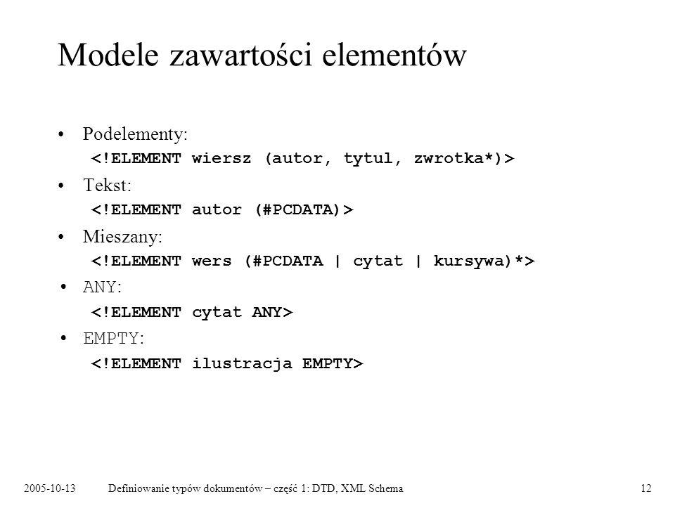 2005-10-13Definiowanie typów dokumentów – część 1: DTD, XML Schema12 Modele zawartości elementów Podelementy: Tekst: Mieszany: ANY : EMPTY :