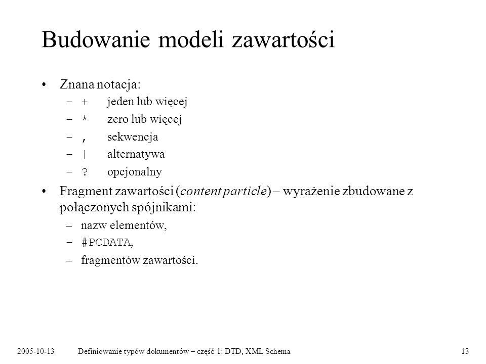 2005-10-13Definiowanie typów dokumentów – część 1: DTD, XML Schema13 Budowanie modeli zawartości Znana notacja: –+ jeden lub więcej –* zero lub więcej –, sekwencja –| alternatywa –.