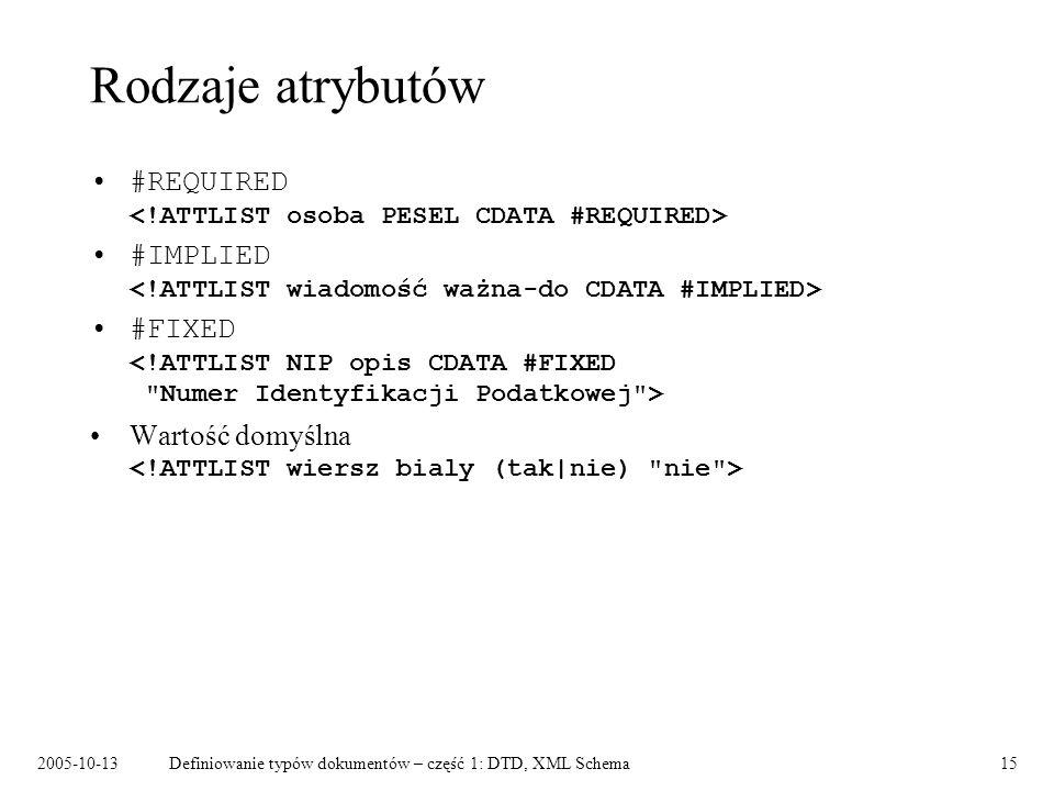 2005-10-13Definiowanie typów dokumentów – część 1: DTD, XML Schema15 Rodzaje atrybutów #REQUIRED #IMPLIED #FIXED Wartość domyślna