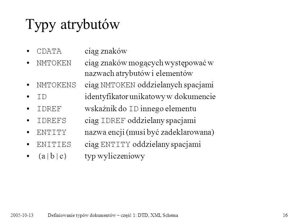 2005-10-13Definiowanie typów dokumentów – część 1: DTD, XML Schema16 Typy atrybutów CDATA ciąg znaków NMTOKEN ciąg znaków mogących występować w nazwach atrybutów i elementów NMTOKENS ciąg NMTOKEN oddzielanych spacjami ID identyfikator unikatowy w dokumencie IDREF wskaźnik do ID innego elementu IDREFS ciąg IDREF oddzielany spacjami ENTITY nazwa encji (musi być zadeklarowana) ENITIES ciąg ENTITY oddzielany spacjami ( a | b | c ) typ wyliczeniowy