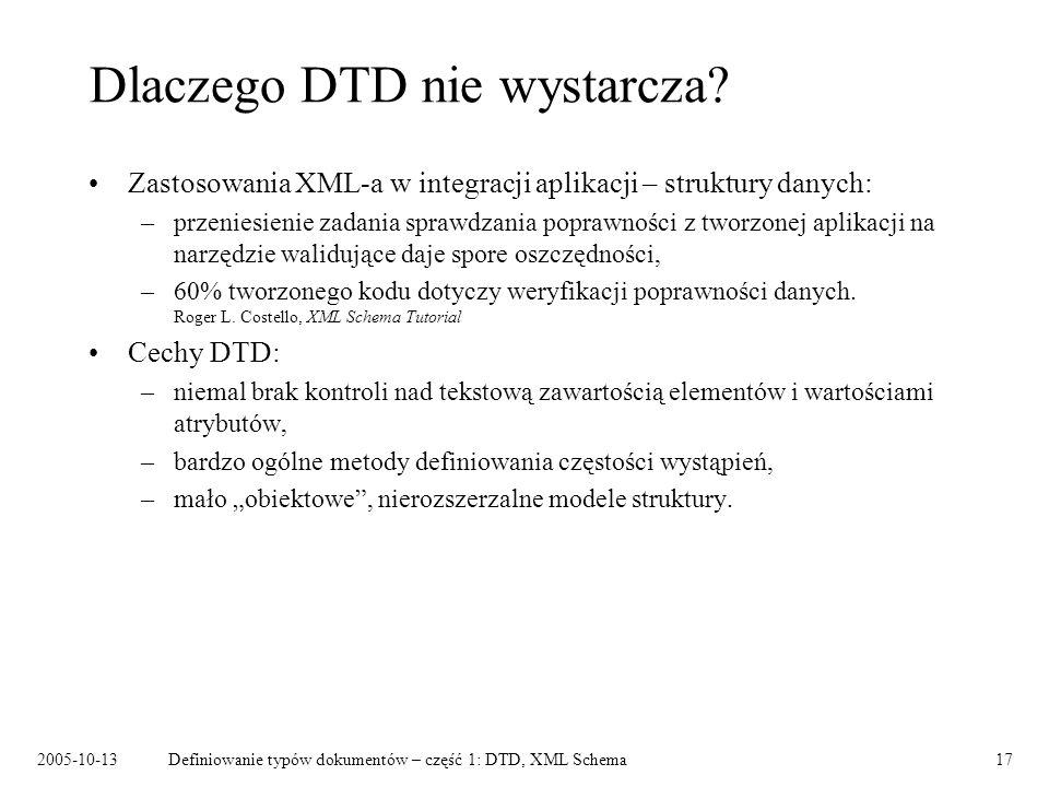 2005-10-13Definiowanie typów dokumentów – część 1: DTD, XML Schema17 Dlaczego DTD nie wystarcza? Zastosowania XML-a w integracji aplikacji – struktury