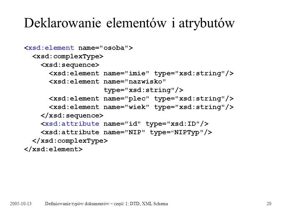 2005-10-13Definiowanie typów dokumentów – część 1: DTD, XML Schema20 Deklarowanie elementów i atrybutów