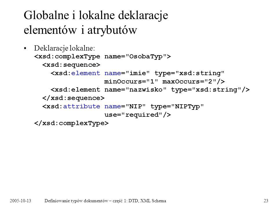 2005-10-13Definiowanie typów dokumentów – część 1: DTD, XML Schema23 Globalne i lokalne deklaracje elementów i atrybutów Deklaracje lokalne: