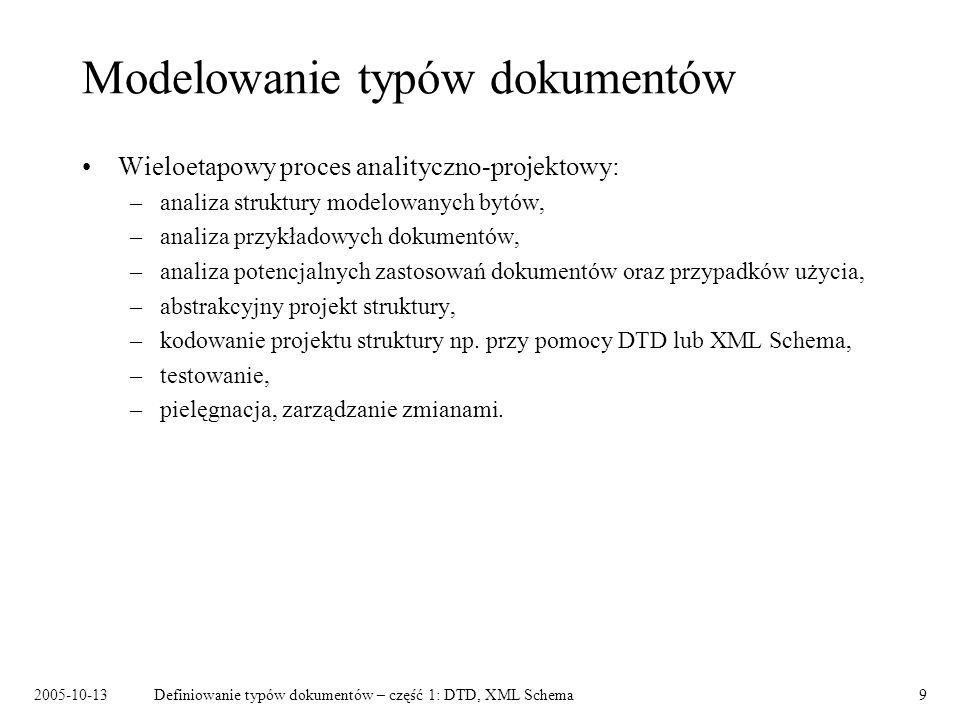 2005-10-13Definiowanie typów dokumentów – część 1: DTD, XML Schema9 Modelowanie typów dokumentów Wieloetapowy proces analityczno-projektowy: –analiza struktury modelowanych bytów, –analiza przykładowych dokumentów, –analiza potencjalnych zastosowań dokumentów oraz przypadków użycia, –abstrakcyjny projekt struktury, –kodowanie projektu struktury np.