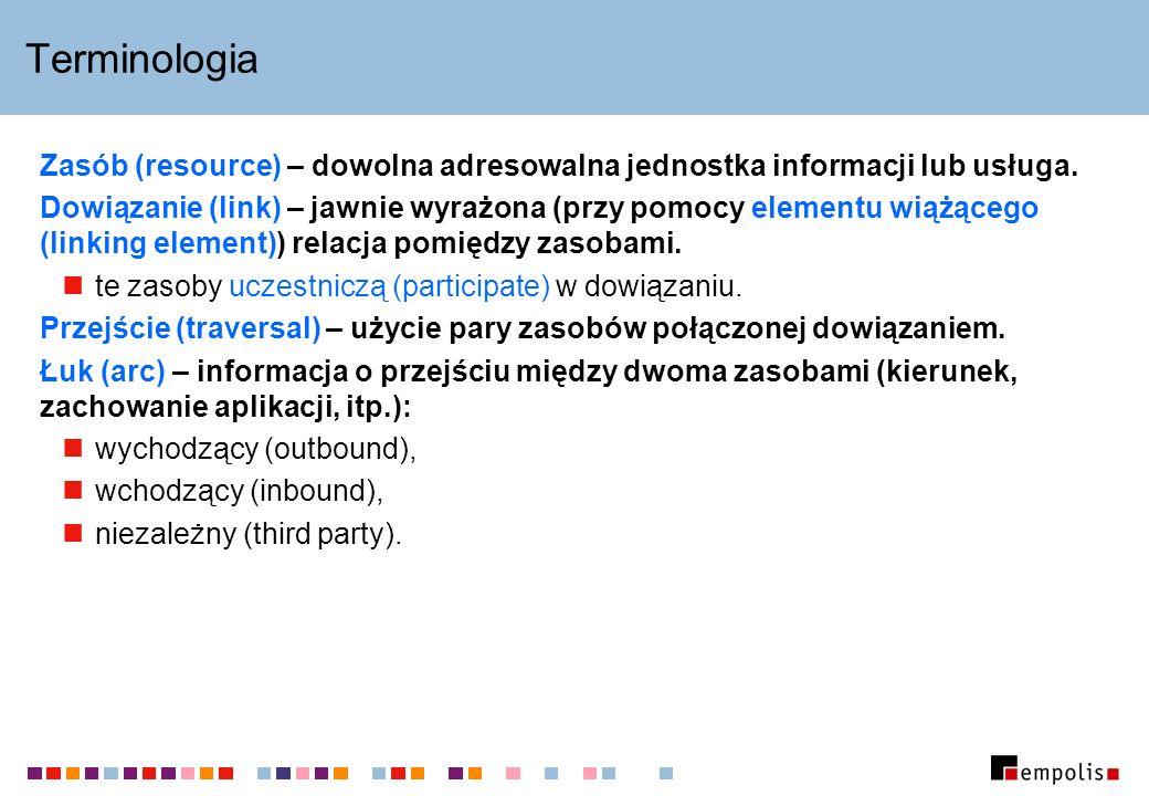 Terminologia Zasób (resource) – dowolna adresowalna jednostka informacji lub usługa. Dowiązanie (link) – jawnie wyrażona (przy pomocy elementu wiążące