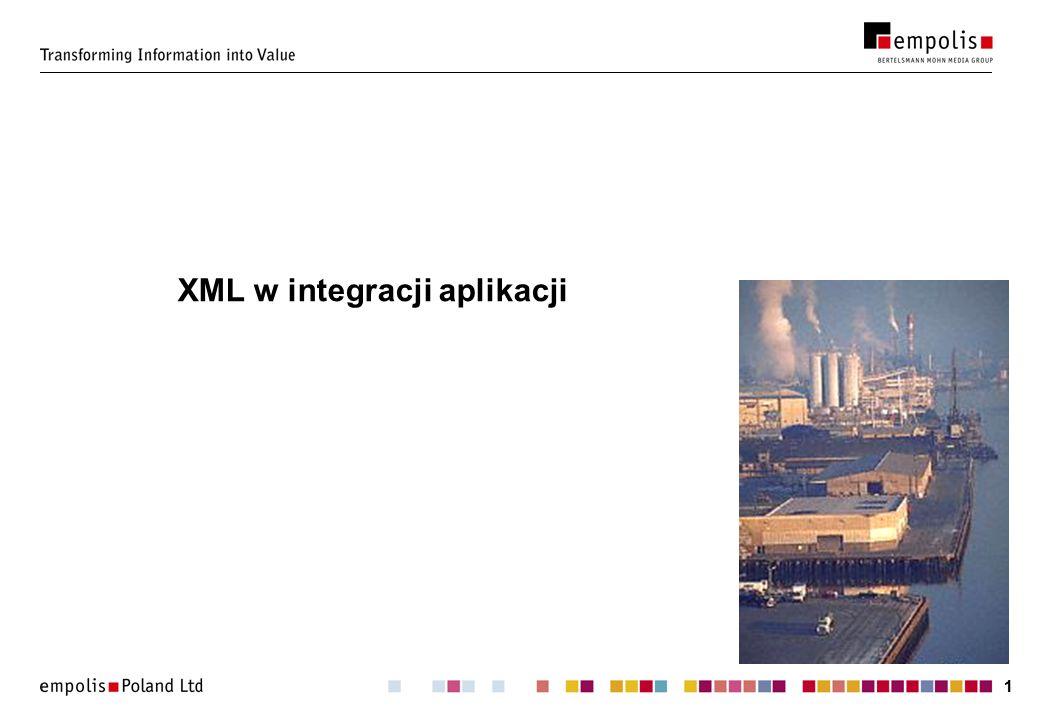 22 Cel: umożliwienie wymiany danych pomiędzy aplikacjami: aplikacje/komponenty/moduły posługują się różnymi formatami wewnętrznymi, wspólny mianownik: XML.