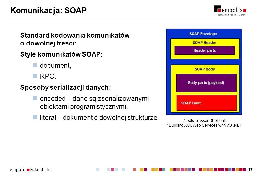 17 Komunikacja: SOAP Standard kodowania komunikatów o dowolnej treści: Style komunikatów SOAP: document, RPC. Sposoby serializacji danych: encoded – d