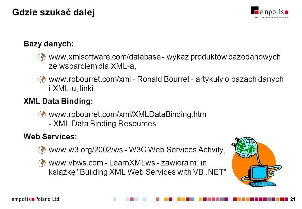 21 Gdzie szukać dalej Bazy danych: www.xmlsoftware.com/database - wykaz produktów bazodanowych ze wsparciem dla XML-a, www.rpbourret.com/xml - Ronald