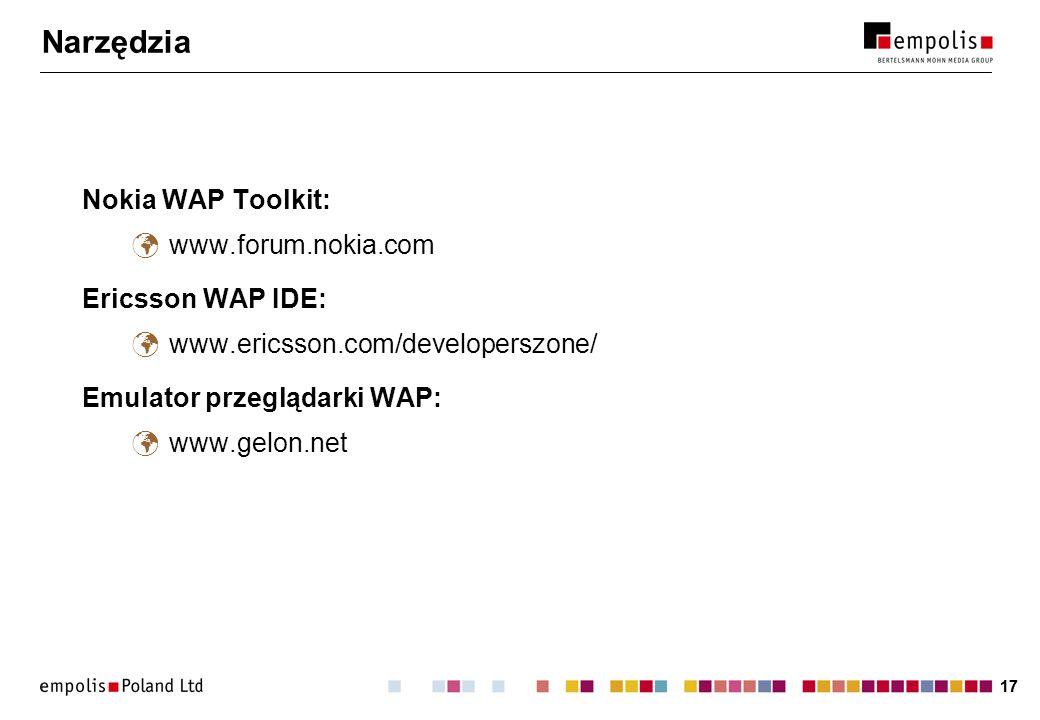 17 Narzędzia Nokia WAP Toolkit: www.forum.nokia.com Ericsson WAP IDE: www.ericsson.com/developerszone/ Emulator przeglądarki WAP: www.gelon.net
