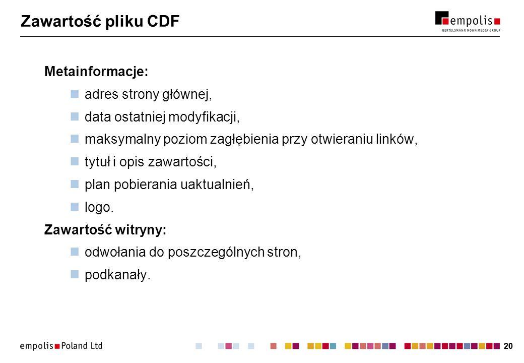 20 Zawartość pliku CDF Metainformacje: adres strony głównej, data ostatniej modyfikacji, maksymalny poziom zagłębienia przy otwieraniu linków, tytuł i