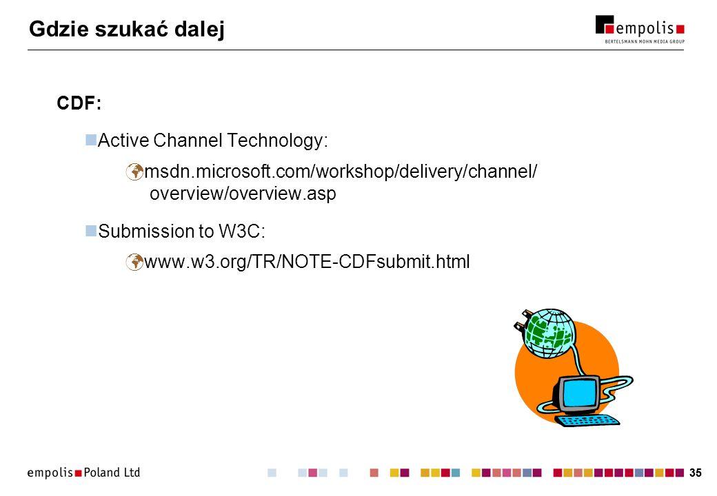 35 Gdzie szukać dalej CDF: Active Channel Technology: msdn.microsoft.com/workshop/delivery/channel/ overview/overview.asp Submission to W3C: www.w3.or