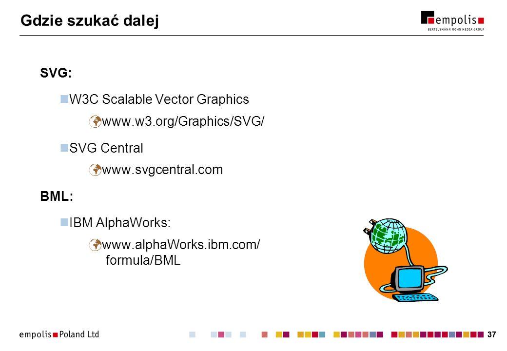 37 Gdzie szukać dalej SVG: W3C Scalable Vector Graphics www.w3.org/Graphics/SVG/ SVG Central www.svgcentral.com BML: IBM AlphaWorks: www.alphaWorks.ib