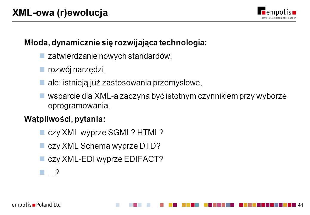 41 XML-owa (r)ewolucja Młoda, dynamicznie się rozwijająca technologia: zatwierdzanie nowych standardów, rozwój narzędzi, ale: istnieją już zastosowani