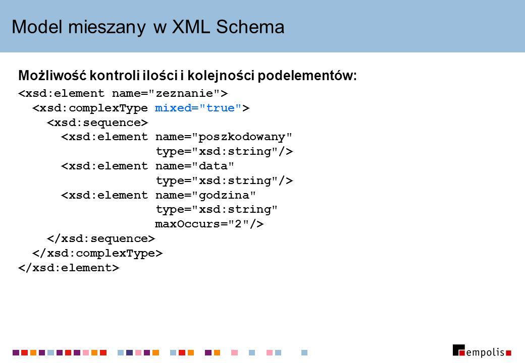 Model mieszany w XML Schema Możliwość kontroli ilości i kolejności podelementów: