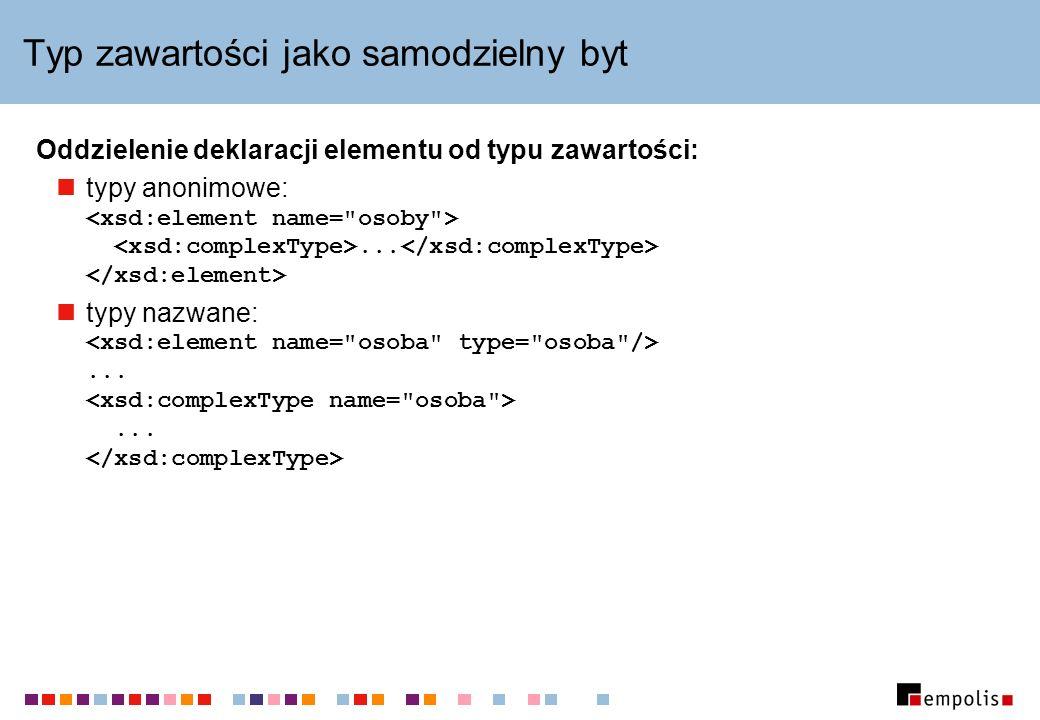 Typ zawartości jako samodzielny byt Oddzielenie deklaracji elementu od typu zawartości: typy anonimowe:...