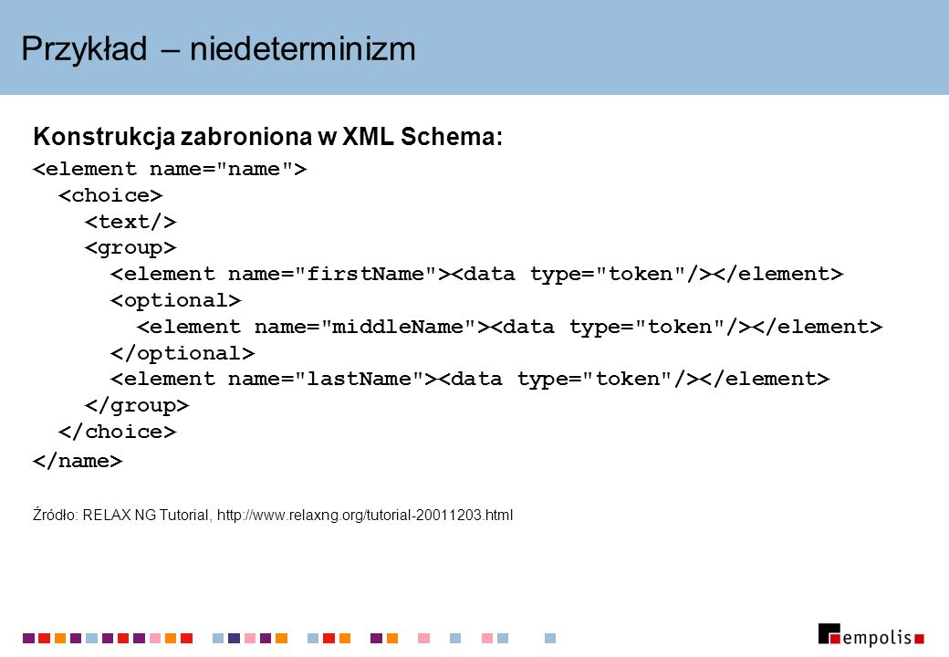 Przykład – niedeterminizm Konstrukcja zabroniona w XML Schema: Źródło: RELAX NG Tutorial, http://www.relaxng.org/tutorial-20011203.html