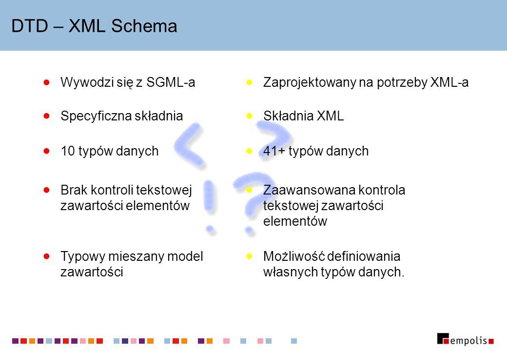Status XML Schema 15 lutego 1999: Dokument W3C opisujący wymagania stawiane przed nowym formatem: mechanizmy tworzenia struktury, typy proste, reguły przetwarzania.