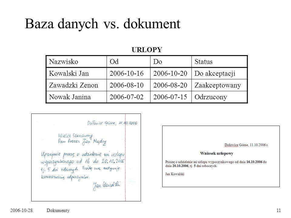 2006-10-28Dokumenty11 Baza danych vs.
