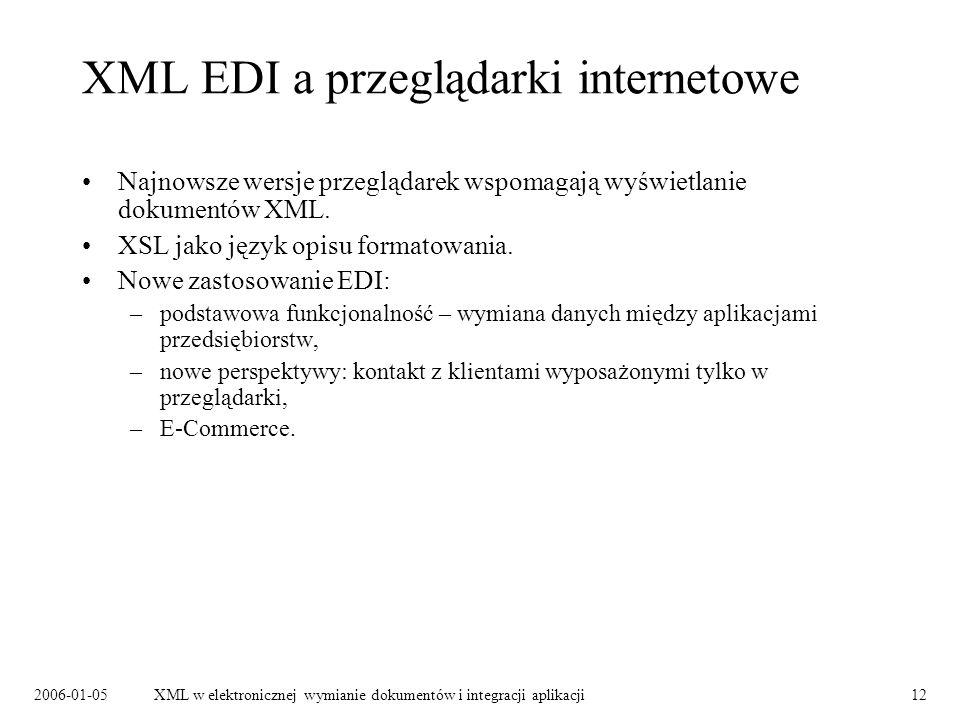 2006-01-05XML w elektronicznej wymianie dokumentów i integracji aplikacji12 XML EDI a przeglądarki internetowe Najnowsze wersje przeglądarek wspomagaj