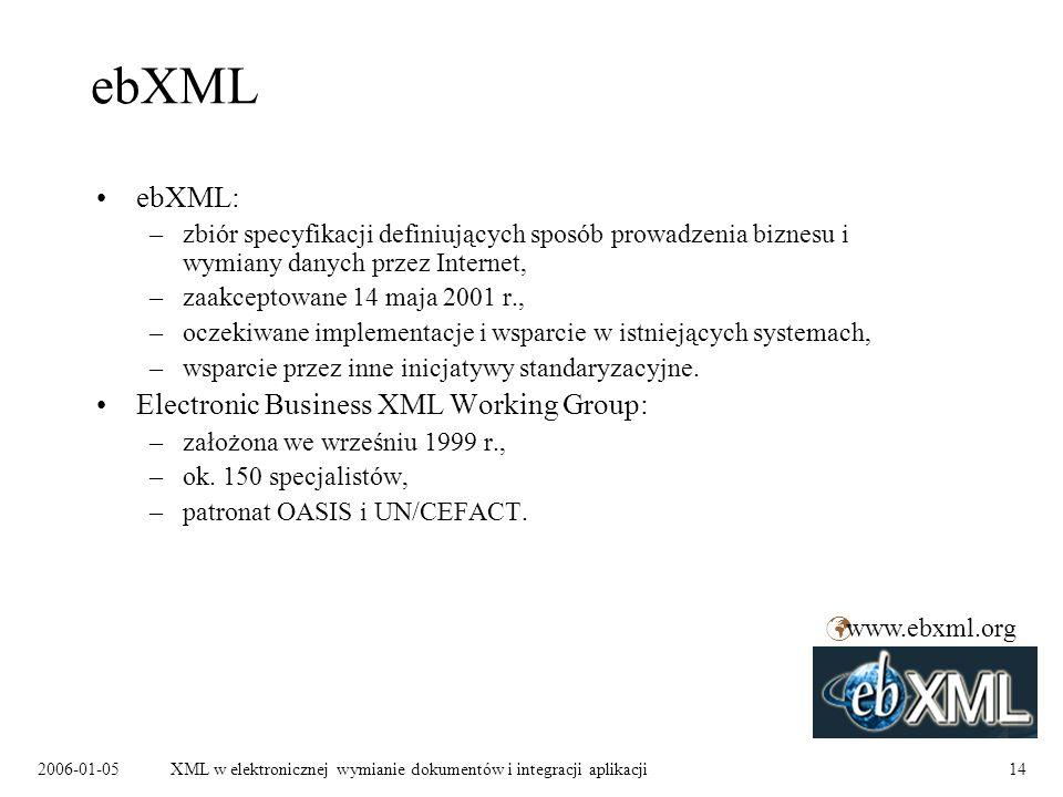2006-01-05XML w elektronicznej wymianie dokumentów i integracji aplikacji14 ebXML ebXML: –zbiór specyfikacji definiujących sposób prowadzenia biznesu