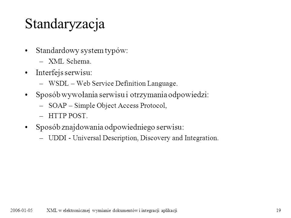 2006-01-05XML w elektronicznej wymianie dokumentów i integracji aplikacji19 Standaryzacja Standardowy system typów: –XML Schema. Interfejs serwisu: –W